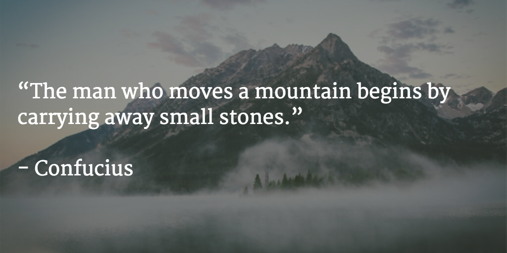The man who moves a mountain begins by carrying away small stones - Confucius